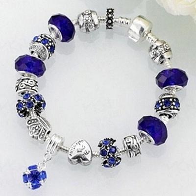 串珠手鍊-水晶飾品藍色水晶生日情人節禮物女配件73bf51[時尚巴黎]