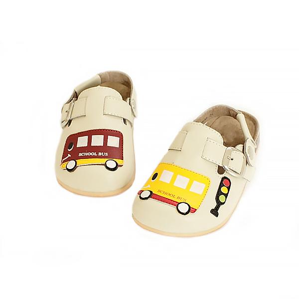 【Jingle】快樂上學前包後空軟木休閒鞋(百搭米兒童款)