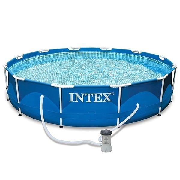 [衣林時尚] INTEX 超大金屬框架游泳池 (366cm*76cm) + 過濾器 28211