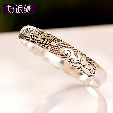 複古銀牡丹花鐲子