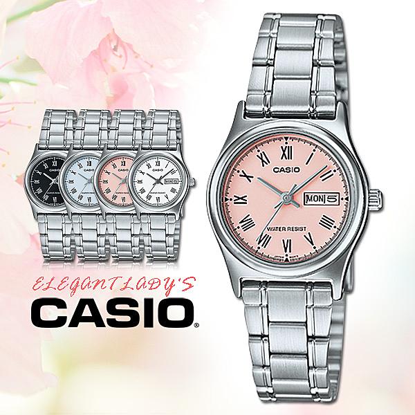 CASIO 手錶專賣店 卡西歐手錶 LTP-V006D-4B 女錶 羅馬數字 指針錶 不鏽鋼錶帶 粉紅