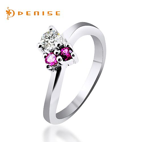 戒指 925純銀鍍白金「甜在心」鑽石珠寶銀飾禮品