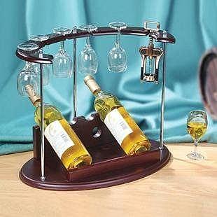 精美家居擺件 仿實木紅酒架 迷你吧台 送紅酒杯