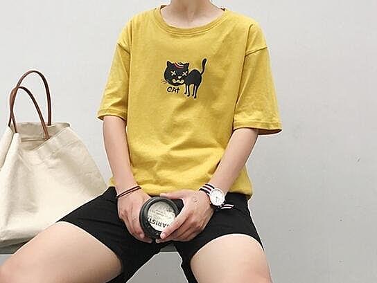 找到自己 MD 日系 時尚 潮 男 休閒 寬鬆 卡通小貓圖案 特色短T 短袖T恤 學生短T