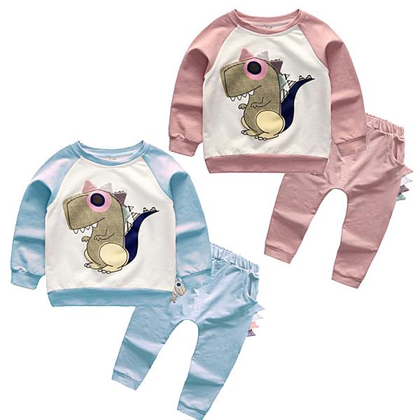 長袖套裝 立體恐龍上衣+棉質長褲 家居服 毛圈套裝 寶寶童裝 MS19720 好娃娃