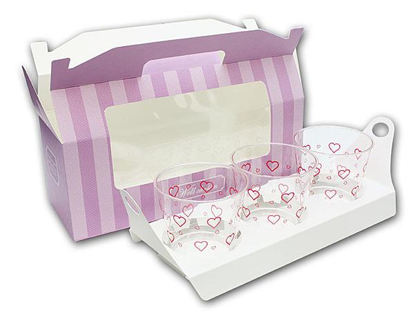 3格 開窗 紫/粉/咖手提盒 馬芬瑪芬盒【C076】杯子蛋糕盒 幕斯奶酪 月餅盒 包裝盒 禮盒 蛋塔盒