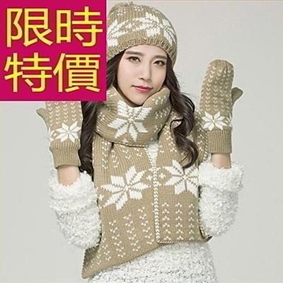 圍巾+毛帽+手套羊毛三件套-獨特優雅保暖韓版女配件2色63n33[巴黎精品]