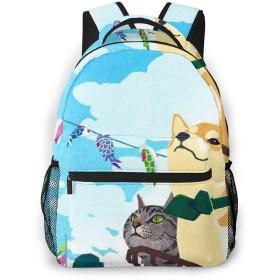 鯉のぼり 猫と犬さん バックパック リュック キッズ 通学 遠足 旅行 多機能 大容量 収納