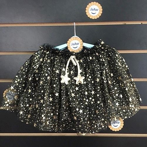 ☆棒棒糖童裝☆(A6753)夏女童鬆緊腰滿版星星黑色紗裙 5-15 (不走光)