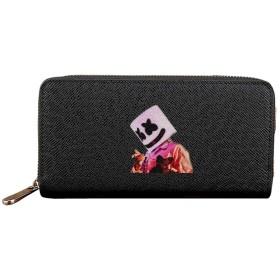 彼の音楽が大好き Marshmello 男女兼用 人気 財布 長財布 小銭入れ ラウンドファスナー 大容量 携帯電話 キャッシュカード収納