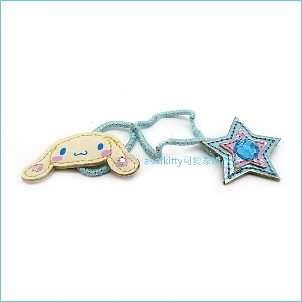 asdfkitty可愛家☆(有泛黃.彈性疲乏)大耳狗藍色星星髮圈/髮飾-日本正版商品