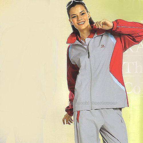日本名牌Kawasaki女版平織網裡運動服套裝(全套-淺灰)