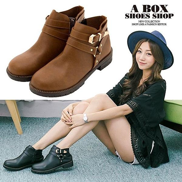 [Here Shoes] MIT台灣製 英倫復古 金屬扣環 騎士靴 機車靴 低粗跟3cm 短靴 2色─KW6790