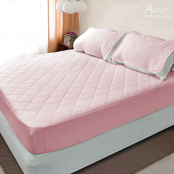 【安妮絲Annis】馬卡龍色、果漾床包保潔墊(粉紅)單人3.5X6.2呎、台灣製造車工好、不易變形
