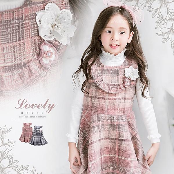 新年-優雅花朵毛呢細格背心洋裝(有內裡)-粉色追加到貨(260415)★水娃娃時尚童裝★