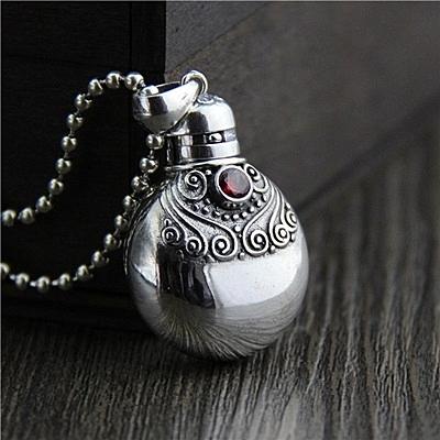 項鍊+925純銀墜飾-復古水壺瓶生日情人節禮物女飾品73gh42[時尚巴黎]
