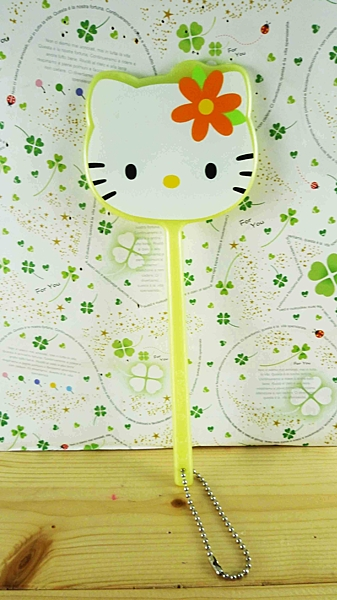 【震撼精品百貨】Hello Kitty 凱蒂貓-手拿鏡-黃波斯(M)