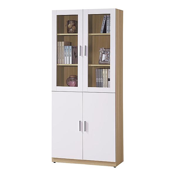 【森可家居】艾美北歐2.7尺四門書櫃 8HY502-04 MIT台灣製造