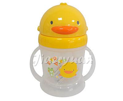 黃色小鴨 自動吸管PP滑蓋練習杯250ml【佳兒園婦幼館】