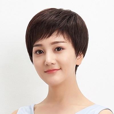 短假髮(真髮)-左右不對稱時尚直髮女假髮73uu32【時尚巴黎】