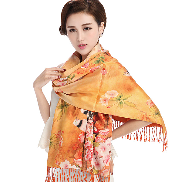 絲巾 真絲質-長款噴花桑蠶絲保暖女性圍巾18色71s6【巴黎精品】