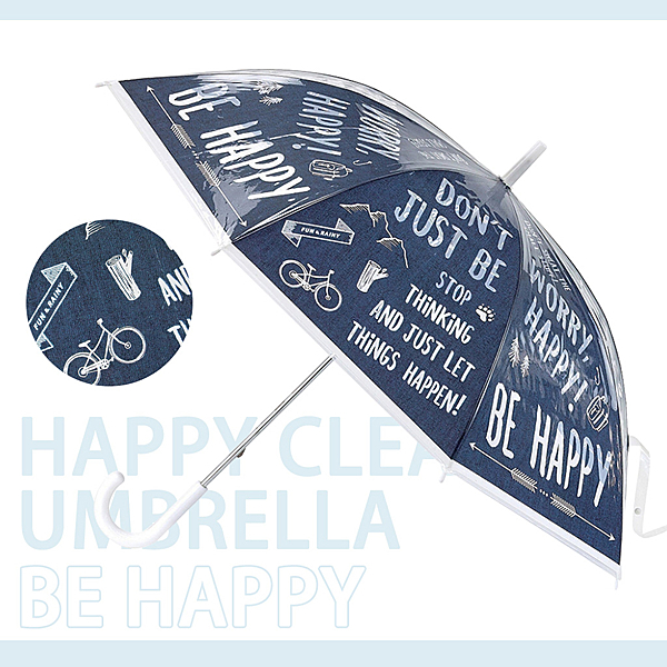 【SPICE】日本 HAPPY CLEAR UMBRELLA HAPPY 深海藍 晴天 雨傘