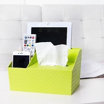 【藤編紋桌面紙巾盒LA308】NO135客廳遙控器多格雜物收納盒紙巾盒【八八八】e網購