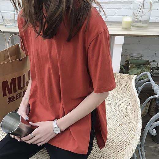 [超豐國際]夏季女裝寬松純色短袖T恤側開叉上衣百搭中長款打底1入