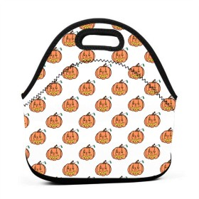 パンプキンパターンランチバッグ、厚手の断熱ランチボックスバッグ、子供旅行ピクニックオフィス用ジッパー閉鎖付きトートボックス