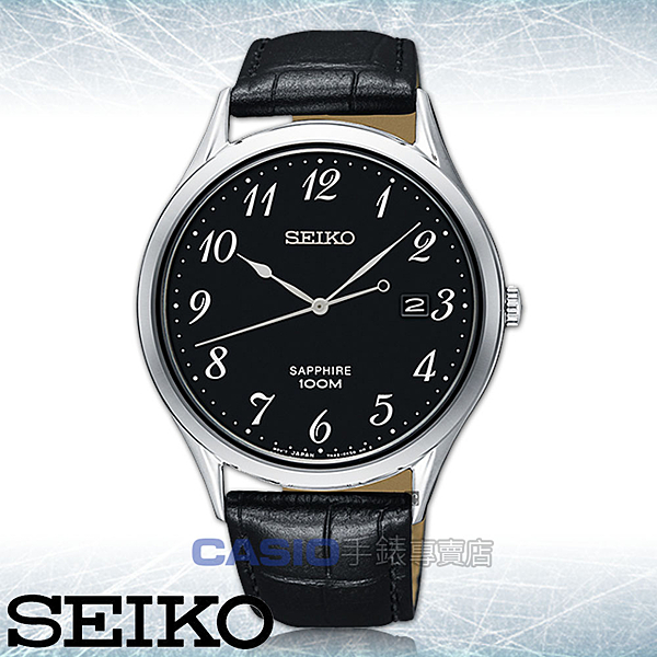 SEIKO 精工 手錶專賣店   SGEH77P1 石英男錶 皮革錶帶 黑 藍寶石玻璃鏡面 防水100米 日期顯示