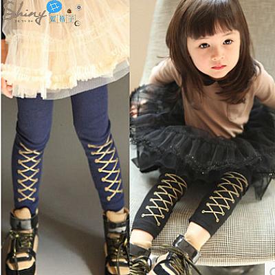 【R0630】shiny藍格子-嬰幼館.英倫風春秋女童假鞋帶薄款內搭褲