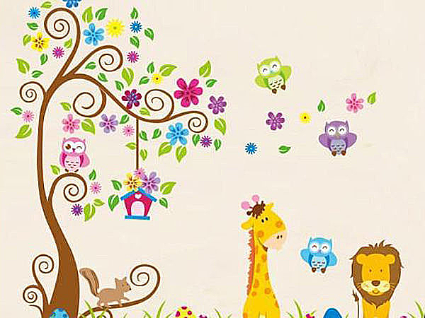 BO雜貨【YV3497】高品質DIY創意牆貼 背景貼 磁磚貼 壁貼 兒童房佈置 貓頭鷹動物朋友