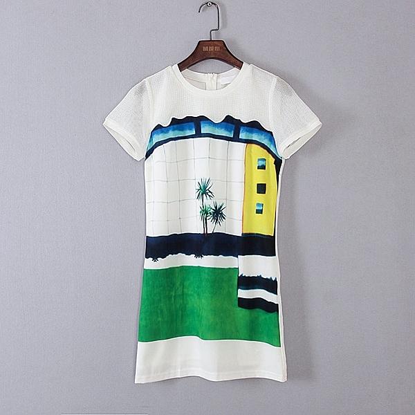[超豐國際]麥春夏裝女裝白色度假風短袖連衣裙 44307(1入)