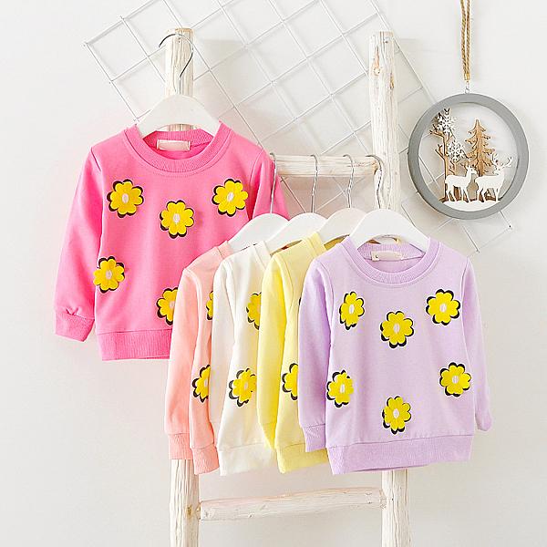 長袖上衣 毛圈長袖T恤 大學T 黃色花朵 女寶寶 長袖上衣 棉質童裝 UG3626