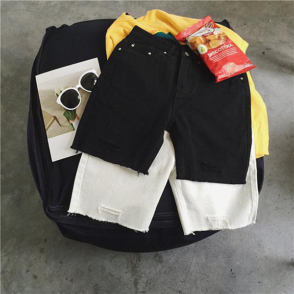 找到自己 MD 韓國 休閒 時尚 男 複古黑白色 簡約破洞 貓須 直筒寬鬆 休閒短褲 牛仔短褲