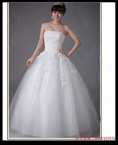 (45 Design) 客製化 預購7天到貨   最新款時尚蕾絲抹胸鑽飾蓬蓬韓版修身婚紗禮服齊地款白色春夏
