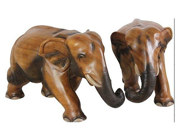 泰國風格   工藝品 大象 個 原木色