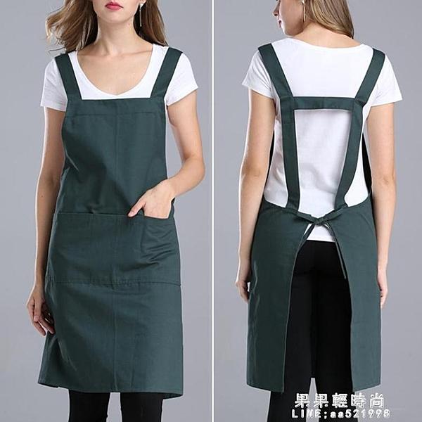圍裙韓版時尚工作服純棉廚房家用圍裙圍腰女廣告圍裙定制logo印字【果果新品】