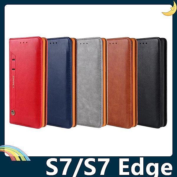 三星 Galaxy S7/S7 Edge 皮紋保護套 皮革側翻皮套 隱形磁扣 商務錢包款 支架 插卡 手機套 手機殼