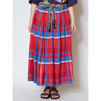 【チャイハネ】アフリカンチェック ロングスカート IDS-9205 FREE レッド