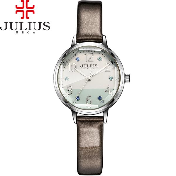 JULIUS 聚利時 稚氣彩虹立體鏡面皮帶腕裱-灰色/28mm 【JA-930A】