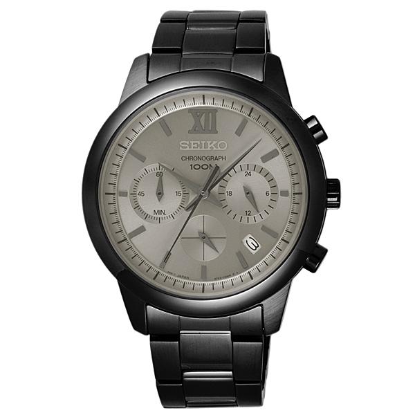 SEIKO 命運輪盤三眼時尚腕錶-黑框銀