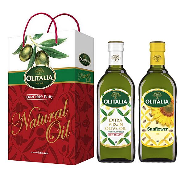【Olitalia奧利塔】特級冷壓橄欖油+葵花油禮盒組(500ml各1)
