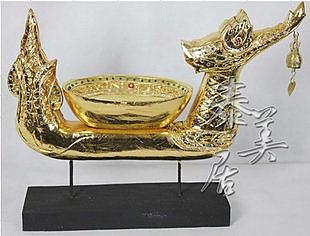 木雕工藝品 擺件 家居裝飾品龍頭鈴鐺果盤