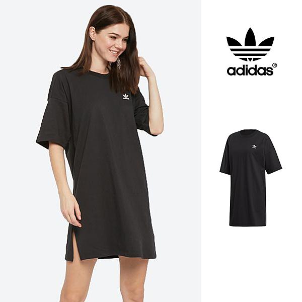 【GT】Adidas Originals 黑 洋裝 女款 寬鬆 落肩 純棉 運動 休閒 短袖 長版 連身裙 愛迪達 三葉草 Logo