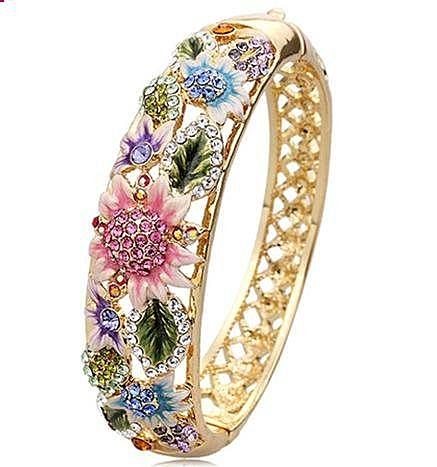 鏤空 鑲鑽 琺琅 時尚 寬複古手環