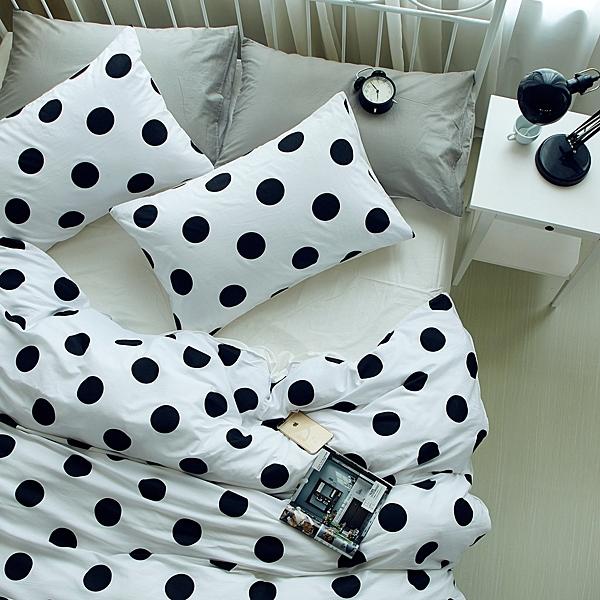 雙人床包組 圓點白 標準雙人 5尺 ikea風格 不起毛球 清新 床包四件組 精梳棉 星星 佛你企業