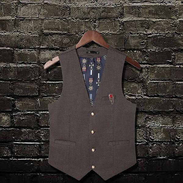 找到自己 MD 韓國 潮 男 時尚 職業裝紳士 小格紋編織 開襟背心 西裝馬甲外套 髮型師西裝外套