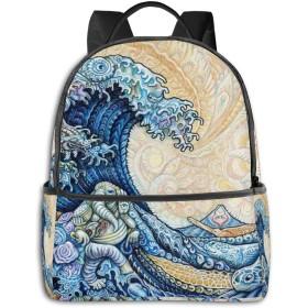 リュック 神奈川沖浪裏 バックパック ビジネスバッグ PCリュック 防水 大容量 多機能 軽量 遠足 旅行 アウトドア 大学生 中学生 おしゃれ 15.6インチ