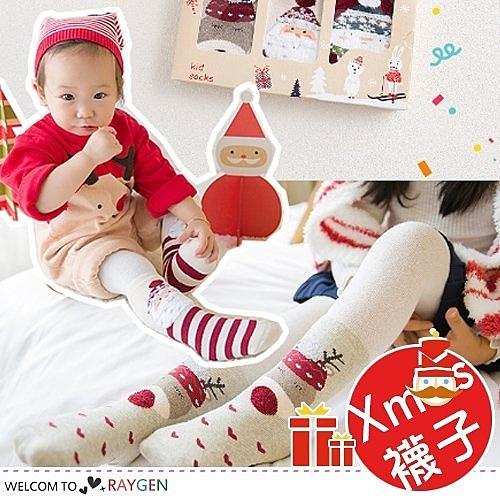 北歐風寶寶加厚毛圈卡通聖誕襪 3雙/組